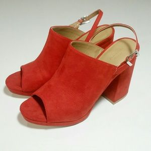 Size 8 Urban Outfitters Red Open Toe Chunky Sandal